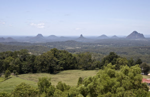 Glasshouse Mountains from Mary Cairncross Reserve